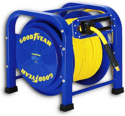 #9. Goodyear Air 100 ft. Reel Retractable Elite Portable Quad Pod 3/8'' Water Hose
