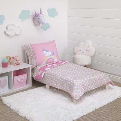 #8. Little Tikes 4 Pcs Rainbow Unicorn Doubled Sided Soft Machine Washable Kids Bedding Set (Pink)