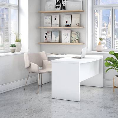 9. Bush Business Pure White Bow Front Desk L-Shaped Office Desk By Kathy Ireland Echo