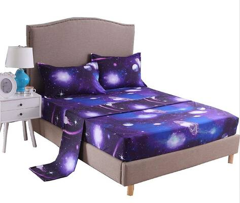 #9. A Nice Night Galaxy 3D Printing 100% Soft Microfiber Fitted Bed Sheet Bedding Set (Full, 07)