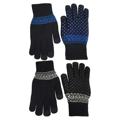 #2. N'ICE CAPS Magic Stretch Touchscreen Lined Knit Warm Plush Gloves (2 pair pack)