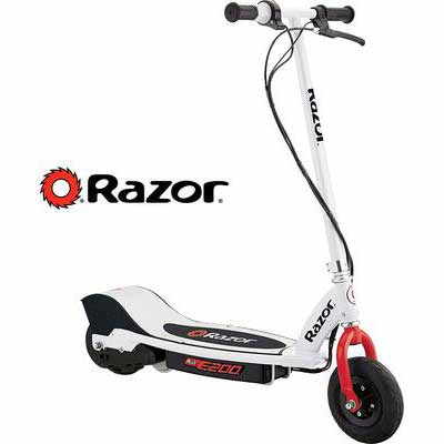 #1. Razor 200W Single-Speed Chain-Driven Motor Up to 12MPH Steel Frame Electric Scooter (White)