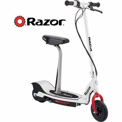 #7. Razor Ultra-Quiet E200S 12MPH Speed Chain Driven Motor Seated Electric Scooter (White/Red)