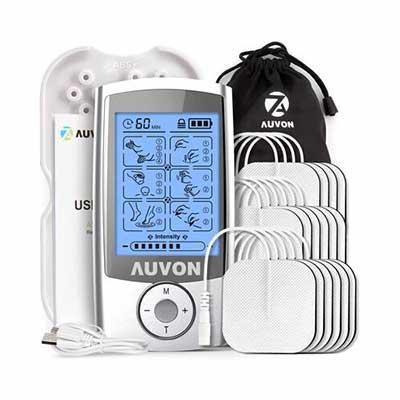 #5. AUVON Rechargeable Muscle Stimulator w/ 16pcs