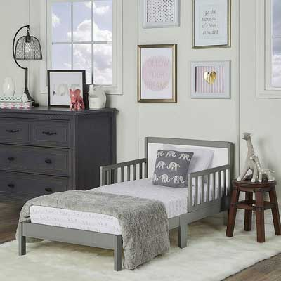 #3. Dream on Me Brookside Safety Guard Rails 50 lbs. Weight Capacity Kids Bed (Steel Grey/White)