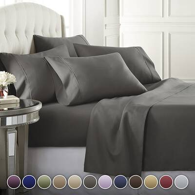 #2. Danjor Linens 6Pcs Deep Pockets Hotel Luxury Soft Hypoallergenic Premium Bed Sheet Set (Grey)