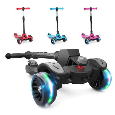 3. 6KU Kids Kick Scooter w/Adjustable Height, Black