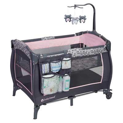 #6. Baby Trend E Removable Full Bassinet Large Wheels Nursery Center (Starlight Pink)