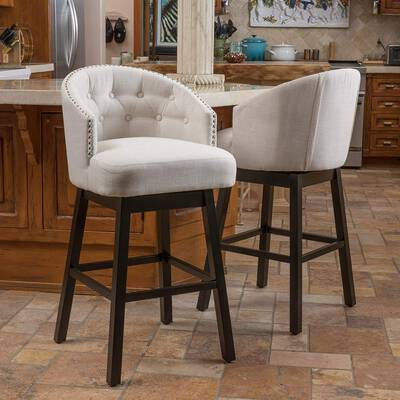 #1. Christopher Knight Home Set of 2 Ogden Barstool Fabric with Wood Frame Espresso Finish (Beige)