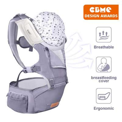 4. Bable 6-in-1 Convertible Baby Carrier for 8-33lbs with Hip Seat (Grey)
