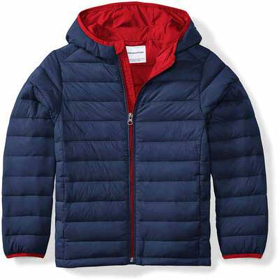 7. Amazon Essentials Lightweight Water-Resistant Boys' Hooded Puffer Winter Jacket Coat