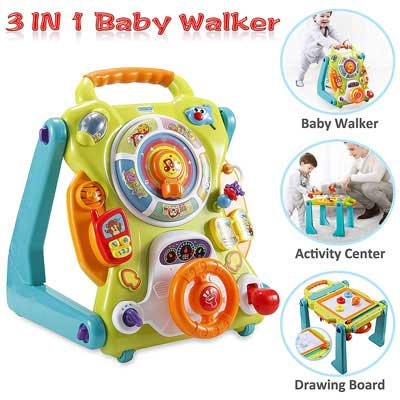 #4. NuoPeng 3 in 1 Baby Walker, Entertainment Table, and Drawing Board