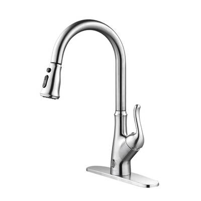#2. FORIOUS Touchless Single Hole & 3 Hole Mount Single Handle Kitchen Sink Faucet (Brushed Nickel)