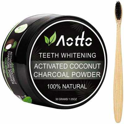 8. Aotto Whitener & Brightener Activated Charcoal Powder Natural Teeth Whitening Powder