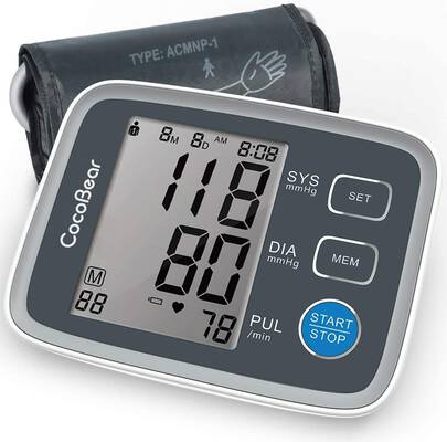 #8. CocoBear Digital Automatic Upper Arm Blood Pressure Machine for Home Use (Grey)
