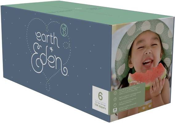 #2. Earth+Eden Baby Diapers, Size 6, 104 Count