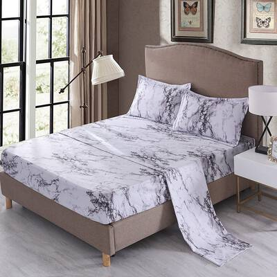 #4. Mengersi 4Pcs Comfortable Queen Luxury Hotel Extra-Soft Deep Pockets Marble Sheets (White)
