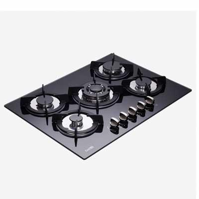 #8. Deli-Kit DK156-B01 27.5'' LPG/NG Dual Fuel 5 Sealed Burners Pulse Ignition Gas Cooktop
