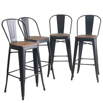 #10. YongQiang 30inch High Back Support Counter Bar Stools Set of 4 with Wooden Seat (Matte Black)