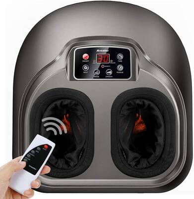 #4. Arealer 5 Mode w/Air Compression Foot Massager Machine w/LCD Display & Remote Control