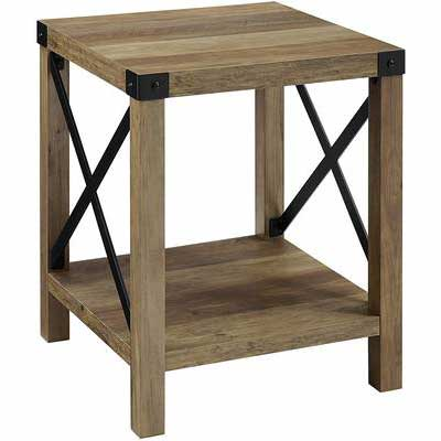 4. Walker Edison 18'' Reclaimed Barnwood Modern Farmhouse Rustic Side Accent Small End Table
