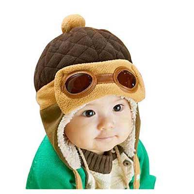 #8. XYX Crochet Earflap Winter Warm Knit Beanie Caps for Baby boy & Girl