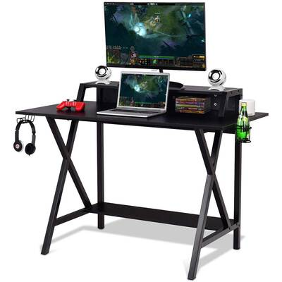 #7. Tangkula Computer Gaming Desk Built-in Wire Management Headphone & Cup Holder (Black)