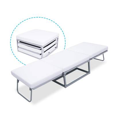 #5. Triple Ottoman Guest Bed Foam Mattress Denmark Design Suede Cover Compact Folding Bed