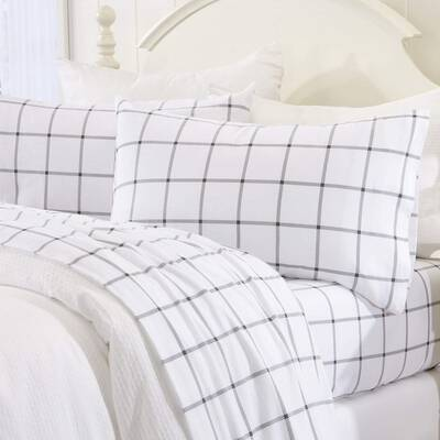 #8. Great Bay Home100% Turkish Cotton Flannel Warm Coy Luxury Winter Bed Sheets (White/Grey)