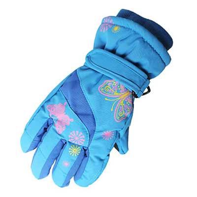 #4. K T One SKI Warm Waterproof Print Outdoor Riding Thickening Children Gloves