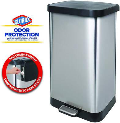 #2. Glad GLD-74507 20 Gallon Extra-Capacity Stainless Steel Step Trash Can w/Clorox Odor Protection