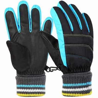 #6. VBG VBIGER Boys Girls SKI Snow Winter Gloves for Children 6 – 12 Years
