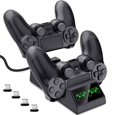 #9. DinoFire LED Indicator & Fast Charging Dock PS4 Controller Charger for PS4 Pro Slim Controller