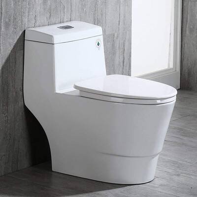 #6. WOODBRIDGE T-0019 Elongated Toilet with a Soft Closing Seat, Cotton White