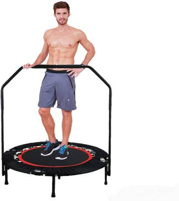 #9. Hurbo 40Inch Max Load 300lbs Foldable Rebounder Trampoline w/Adjustable Handrail for Adults & Kids