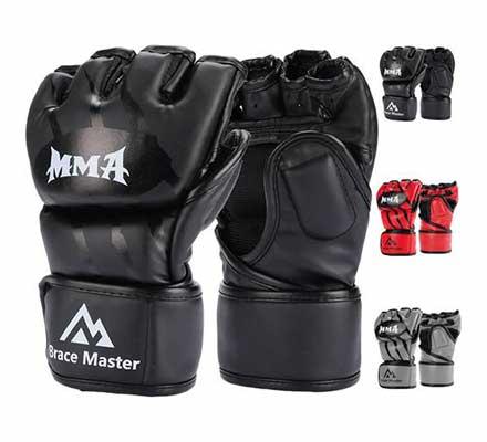 #8. Brace Master UFC Women & Men Leather MMA Fingerless Punching Bag Gloves