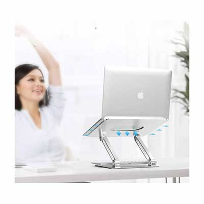 #10. Boyata Multi-Angle Adjustable Notebook Stand for Laptop up to 17Inch w/Heat-Vent