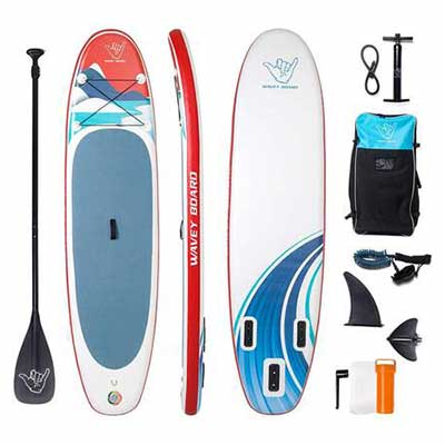 #10. WAVEY BOARD 6Inch Thick SUP PVC Inflatable Stand Up Paddle Board w/Bottom Fin