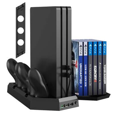 #4. Kootek for PS4 Slim Pro Vertical Stand Controller Charger Station Charger Indicator USB Ports