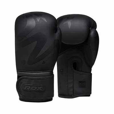 #2. RDX Muay Thai Hide Leather Noir Gloves for Kickboxing Fighting & Punch Bag (Matte Black)