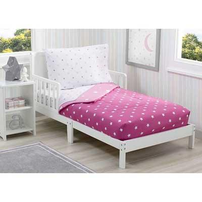 #10. Delta Children 4 Pcs Fitted Blushing Star Comforter w/Elastic Bottom Toddler Bedding Set (Pink)