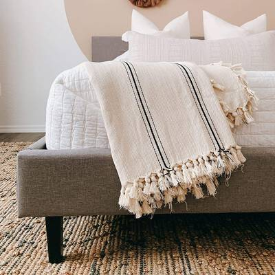 1. LOOMIA Black Stripes Cotton Boho Extra-Large Cream Ecru Sophie Turkish Throw Blanket