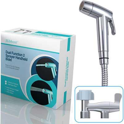 #10. Hibbent Dual Function Shattaf Cloth Hand Held Bidet Toilet Sprayer – Chrome