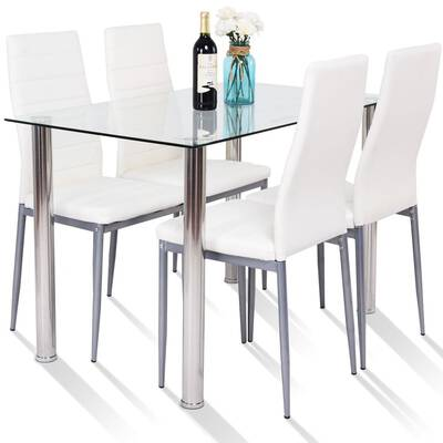 #10. Tangkula 5-Pcs Modern Tempered Glass PVC Dining Table Set for Dining Room (White)