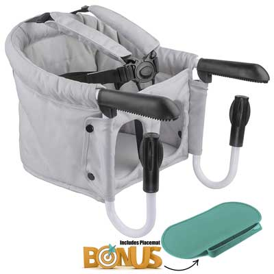 #5. Muneca Baby Portable Travel Highchair Spill-Proof Compatible Hook-on High Chair