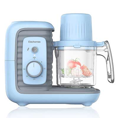 #5. ELECHOMES Double Steam Basket Baby Food Maker with Timer for Baby Infant Food
