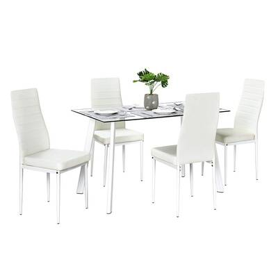 #5. Bonnlo 5-Pcs Modern 4 PU Leather Chairs Dining Room Table Set with Tempered Glass Top