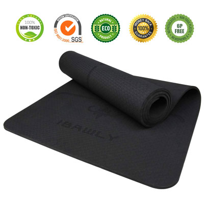6. IBAWLY Non-Slip Eco-Friendly Hot Yoga Mat with Carrying Strap