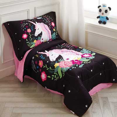 #7. Wowelife 4 Pcs Cotton & Tencel Made Flowers Toddler Bed Set for Kids (Rainbow Black Unicorn)