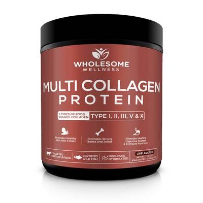 #1. Wholesome Wellness Grass-Fed Super Bone Broth Premium Blend Multi-Collagen Protein Powder